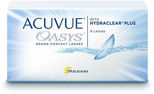 ACUVUE OASYS Kontaktlinsen - 2-Wochen-Linsen für Tag und Nacht mit -2 dpt und BC 8.4 - UV Schutz, Austrocknungsschutz & extrem hoher Tragekomfort - 6 Linsen