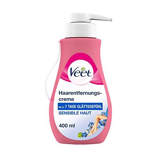 Veet Sensitive Haarentfernungscreme - Schnelle & effektive Haarentfernung für seidig-glatte Haut - Anwendungszeit 5-10 Minuten - 400 ml Spender mit Spatel