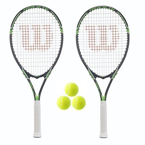 Wilson Tour 2x Tennisschläger, inkl. Hülle mit Gurt und 3 Bällen