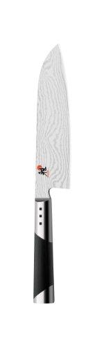 MIYABI 7000D Santoku Messer, 18 cm Klinge, CMV60 Stahl, Damast Design, 65 Lagen, traditioneller D-Griff, Micarta, Edelstahl