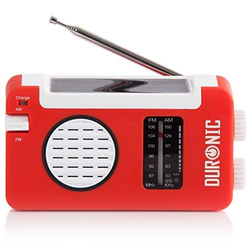 Duronic Hybrid Radio AM / FM - Solarenergie und USB-Ladegerät - Ideal für Camping, Wandern, zu Hause oder im Garten / Aufladbare Kurbel