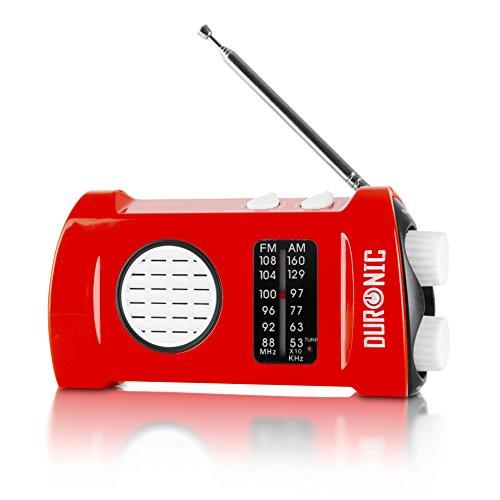 Duronic Ecohand Dynamo Radio AM/FM, wiederaufladbar - Kurbelradio - mit integrierter LED Taschenlampe, Handkurbel/Outdoor/Camping/Wandern