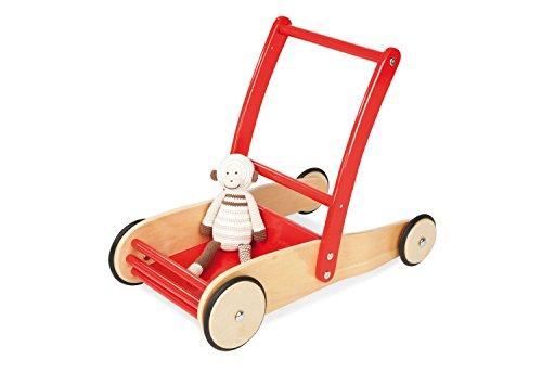 Pinolino Lauflernwagen Uli, aus Holz, mit Bremssystem, Lauflernhilfe mit gummierten Holzrädern, für Kinder von 1 - 6 Jahren, rot