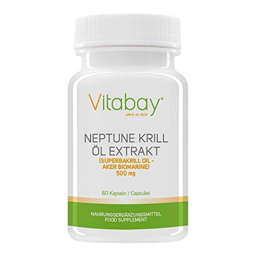 Vitabay Neptune Krill Öl 500 mg - Reich an Omega-3 Fettsäuren - 60 Softgels