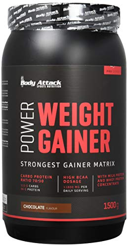 Body Attack Power Weight Gainer, Chocolate, 1,5 kg, 100% Masseaufbau, Kohlenhydrat-Eiweißpulver zum Muskelaufbau mit Whey-Protein, ideal für Hardgainer