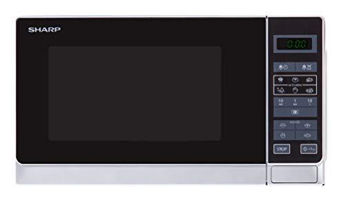 Sharp R242WW Solo-Mikrowelle / 20 L / 800 W / 5 Leistungsstufen / 8 Automatikprogramme / Gewicht- und zeitgesteuerte Auftauen / Kindersicherung / Energiesparmodus / Glasdrehteller (25,5 cm) / weiß