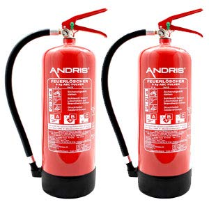 2X Feuerlöscher 6kg ABC Pulverlöscher mit Manometer EN 3 + ANDRIS® Prüfnachweis mit Jahresmarke, ISO-Symbolschild Folie & Wandhalterung