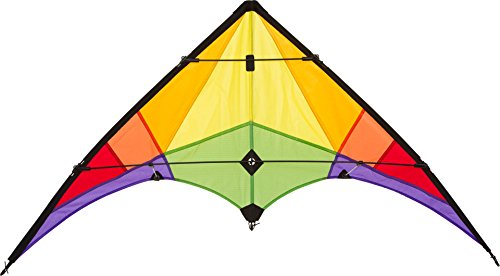 Ecoline 10216230 - Rookie Rainbow Lenkdrachen Zweileiner, ab 8 Jahren, 60x120cm, inkl. 20kp Polyesterschnüre 2x25m auf Spulen, 3-5 Beaufort