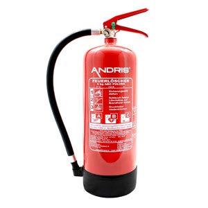 Feuerlöscher 6kg ABC Pulverlöscher mit Manometer EN 3 + ANDRIS® Prüfnachweis mit Jahresmarke, ISO-Symbolschild Folie & Wandhalterung