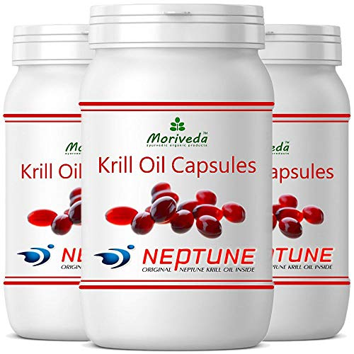 Krillöl Kapseln 270 oder 90, 100% reines NEPTUNE Premium Krill Öl - Omega 3,6,9 Astaxanthin, Phospholipide, Choline, Vitamin-E - Markenqualität von MoriVeda (3x90)