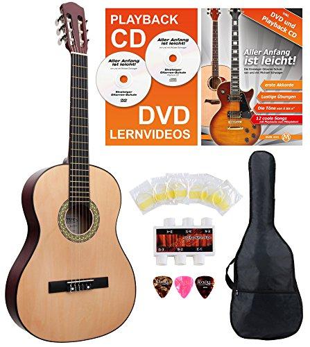 Classic Cantabile AS-851 4/4 Konzertgitarre Starter Set (Komplettes Anfänger Set mit Klassik Gitarre, Gigbag Tasche, Nylonsaiten, Lehrbuch/Schule inkl CD und DVD, 3x Plektren und Stimmpfeife)