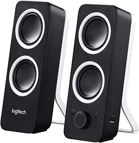 Logitech Z200 2.1 Lautsprecher mit Subwoofer, Surround Sound, 10 Watt Spitzenleistung, 2x 3.5mm Eingänge, Lautstärke-Regler, PC/TV/Smartphone/Tablet - Midnight Black/schwarz