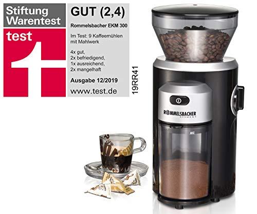 ROMMELSBACHER Kaffeemühle EKM 300 - Kegelmahlwerk aus Edelstahl, Mahlgrad in 12 Stufen, Mengendosierung bis 10 Portionen, Füllmenge Bohnenbehälter 220 g, 150 Watt, schwarz/silber
