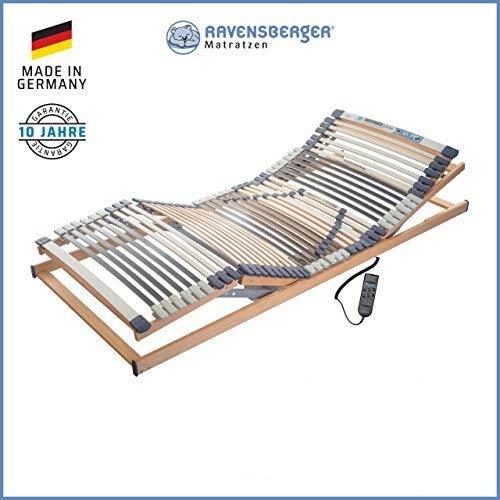 RAVENSBERGER MEDIMED® 44-Leisten 7-Zonen-BUCHE-Lattenrahmen | Elektrisch | Made IN Germany - 10 Jahre GARANTIE | Blauer Engel - Zertifiziert | 90 x 200 cm | Kabel-Fernbedienung