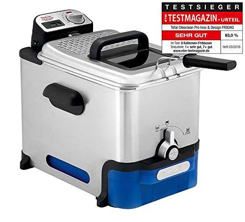 Tefal FR8040 Pro Inox & Design Fritöse Oleoclean, 3.5 l, schwarz/edelstahl