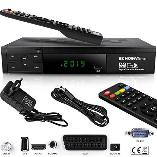 Echosat HDMI SCART HD Receiver Satellit DVB S2 HD Receiver für SAT Digitaler Satelliten SAT Receiver (DVB-S/S2, HDMI, SCART, 2x USB 2.0, Full HD 1080p) (Vorprogrammiert für Astra Hotbird und Türksat)