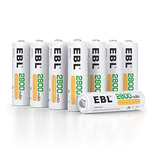 EBL AA Akku 2800mAh - 8 Stück Mignon wiederaufladbare Batterien Typ Ni-MH geringe Selbstentladung mit Staubkasten, 1.2v Akkubatterien