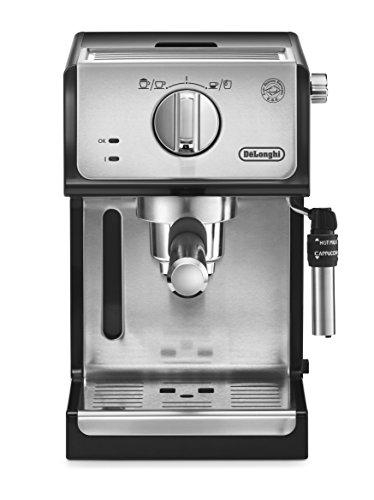 De'Longhi ECP 35.31 Espresso Siebträgermaschine | Siebträgerhalter mit Aluminium Finish | Professionelle Milchschaum Düse | Filtereinsatz für 1 oder 2 Tassen | Auch für Pads Geeignet | Schwarz-Silber