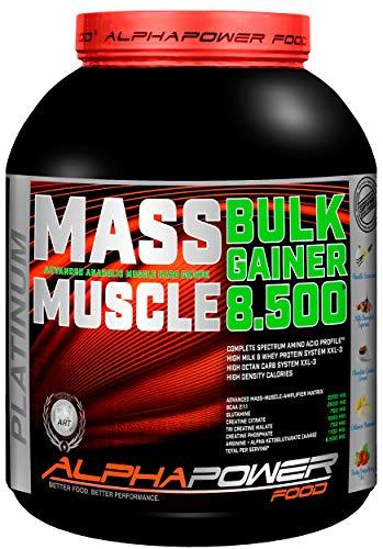 ALPHAPOWER FOOD Maas - Whey, Muscle Weight Gainer I Mega, Muskelmasse & Muskelaufbau - Protein - Eiweiß, Kohlenhydrate - Pulver - Shake für Hardgainer, 5kg Banane + Creatin, Bcaa, MCT Öl