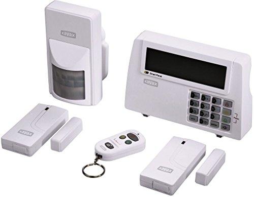 Xavax Alarmanlage Funk fürs Haus FeelSafe (laute 120dB Sirene, komplettes Alarmsystem inkl. Basisstation, Bewegungssensor, 2 Fenster-/Türsensoren und Fernbedienung, Sicherheit, beliebig erweiterbar)