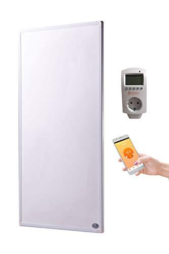 Infrarot Heizung 1000 Watt mit Smart Home Thermostat inkl. Könighaus App (IOS/Android) - schlichter weißer Rahmen - deutscher Hersteller und vom Tüv Süd GS geprüft - neueste Technologie - 30 Tage Zufriedenheitsgarantie - 5 Jahre Herstellergarantie- Elektroheizung mit Überhitzungsschutz - Fern Infrarotheizung