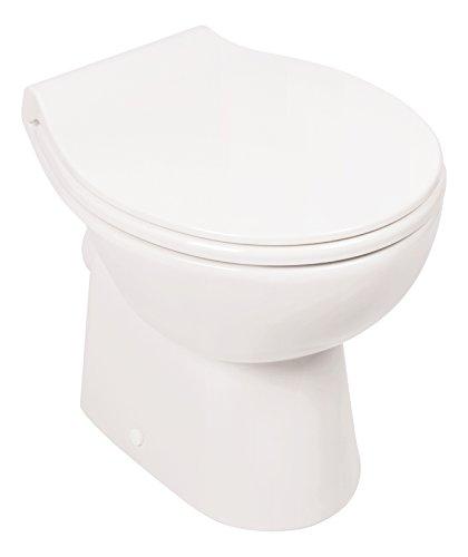 'aquaSu® 57225 5 Stand-WC-Set | Spülrandlos | Inklusive WC-Sitz | Tiefspüler | Abgang waagerecht | Weiß | Toilette | Spülrandloses WC | Klo