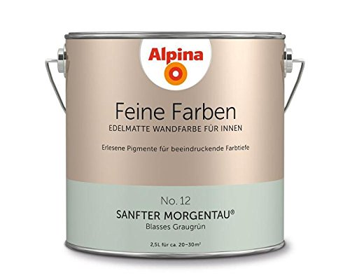 Alpina 2,5 L. Feine Farben, Farbwahl, Edelmatte Wandfarbe für Innen (No.12 Sanfter Morgentau - Blass