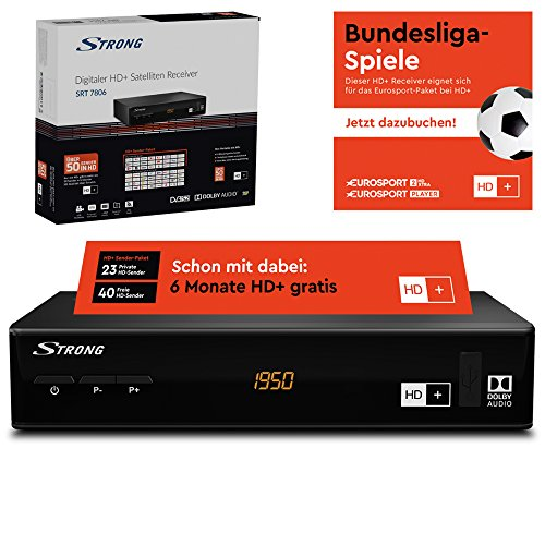 STRONG SRT 7806 HD Satelliten Receiver für HD Plus inkl. HD+ Karte DVB-S2 Full HD (HDTV, HDMI, LAN, SCART, USB) schwarz