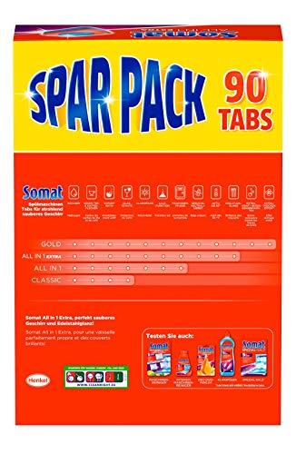 Somat 10 All in 1 Extra Sparpack Geschirrspültabs, Spülmaschinentabs, löst hartnäckigen Schmutz und Fett für besonderen Edelstahlglanz, Großpackung 90 Tabs