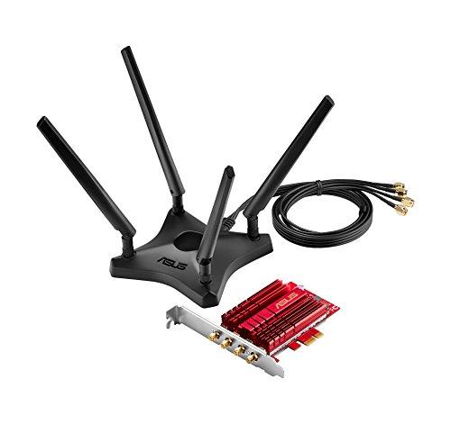 Asus PCE-AC88 PCIe-Karte (Wi-Fi 5 AC3100 Dual-Band, PCIe 1x, 4x externe Antennen mit Standfuß, High-Power 4x4 Design, MU-Mimo, NitroQAM, DFS)
