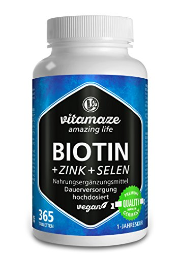 Biotin hochdosiert 10.000 mcg + Selen + Zink für Haarwuchs, Haut & Nägel - Der VERGLEICHSSIEGER 2018* - 365 vegane Tabletten für 1 Jahr, Made-in-Germany