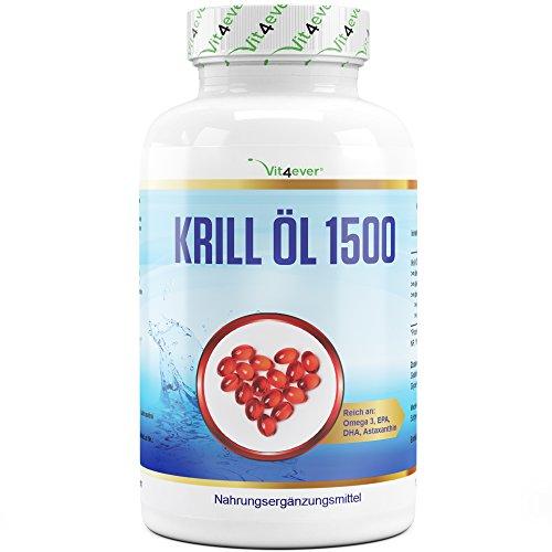 Vit4ever® Krill Öl 1500 - 135 Kapseln - 1500 mg pro Tagesportion - Reich an EPA + DHA + Astaxanthin + Phospholipide + Omega 3 Fettsäuren - Laborgeprüftes Antarktis Krillöl - Hochdosiert - Premium Qualität