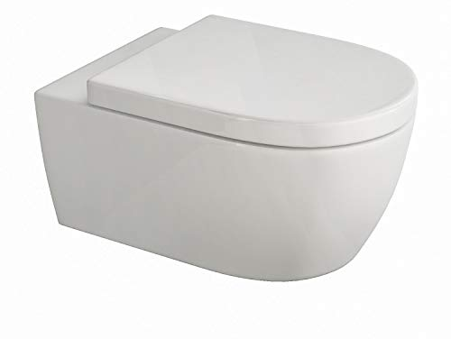 SSWW | Design Hänge WC | Spülrandlose Toilette | Wand-WC | WC-Set | Inkl. abnehmbaren WC-Sitz mit Softclose Absenkautomatik | Kurz