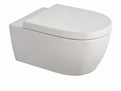 SSWW | Design Hänge WC | Spülrandlose Toilette | Wand-WC | WC-Set | Inkl. abnehmbaren WC-Sitz mit Softclose Absenkautomatik | Lang | 545 x 360 x 330 mm