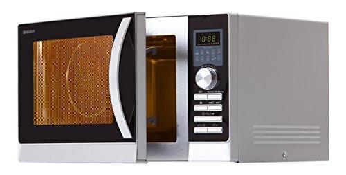 Sharp R843INW 4-in-1 Mikrowelle mit Heißluft, Grill und Konvektion / 25 L / 800 W / 1000 W Infrarotgrill / 2500 Konvection / 10 Automatikprogramme / Pizza-Programm / Metalldrehteller (30 cm) / silber