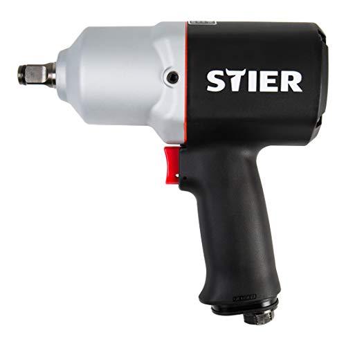 STIER Druckluft Schlagschrauber 15-PC, 1/2 Zoll, Stecknippel 1/4 Zoll, Schlagschrauber mit Hochleistungs-Stift-Schlagwerk, 3 Geschwindigkeitsstufen