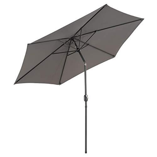 Sonnenschirm Ø 290cm Stahl Gestell UV Schutz UPF 50+ Gartenschirm Marktschirm mit Kurbel und neigbar Schirmstoff anthrazit wasser- und schmutzabweisend Höhe 230 cm