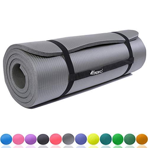 TRESKO Fitnessmatte Yogamatte Pilatesmatte Gymnastikmatte 6 Farben/Maße 185cm x 60cm in 2 Stärken/Phthalates-getestet/NBR Schaumstoff/hautfreundlich, kälteisolierend (Grau, 185 x 60 x 1 cm)