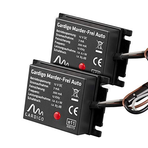 Gardigo Marder-Frei Auto 2er Set I Marderschutz für PKW I KFZ Zubehör I Leichter Einbau I Anschluss an 12V Autobatterie