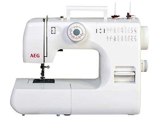Silva-Homeline AEG Freiarm Nähmaschine mit 22 Nähprogrammen, für Anfänger geeignet, LED Beleuchtung und unfangreichem Zubehör, Kunststoff, weiß, 38 x 20 x 33 cm