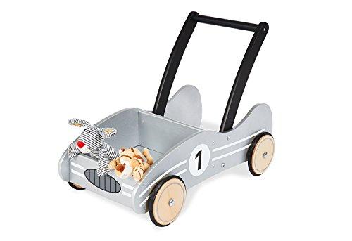 Pinolino Lauflernwagen Kimi, aus Holz, mit Bremssystem, Lauflernhilfe mit gummierten Holzrädern, für Kinder von 1 - 6 Jahren, silber