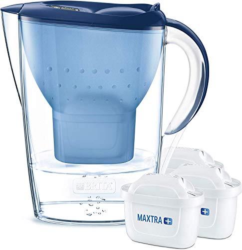 BRITA Wasserfilter Marella blau inkl. 3 MAXTRA+ Filterkartuschen - BRITA Filter Starterpaket zur Reduzierung von Kalk, Chlor & geschmacksstörenden Stoffen im Wasser