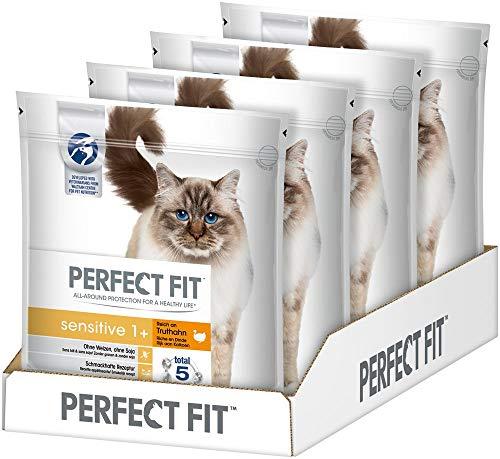 Perfect Fit Sensitive 1+ - Trockenfutter für erwachsene, sensible Katzen ab 1 Jahr - Reich an Truthahn - Ohne Weizen und Soja - Unterstützt die Verdauung - 4 x 1.4 kg