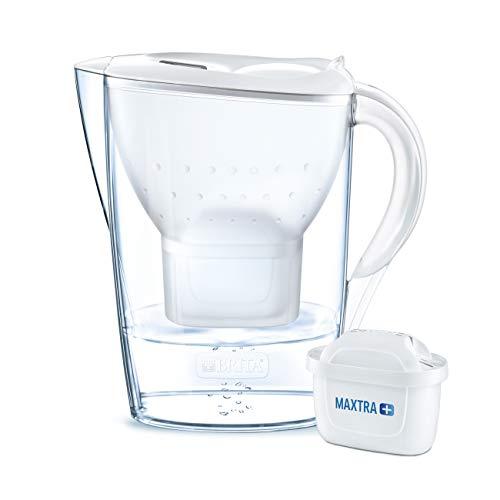 BRITA Wasserfilter Marella weiß inkl. 1 MAXTRA+ Filterkartusche - BRITA Filter zur Reduzierung von Kalk, Chlor & geschmacksstörenden Stoffen im Wasser
