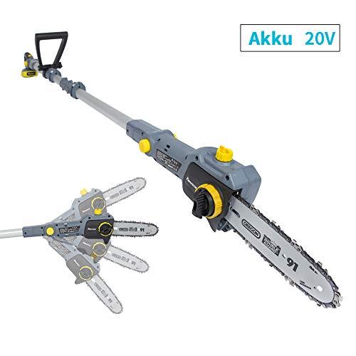 FANZTOOL 20V Li-Ion Akku-Hochentaster mit 2Ah Akku/Ladegerät, Höhe bis 5 m, 17 cm Schnittstärke, Schwertlänge 20 cm, leichtes Gewicht 4 kg
