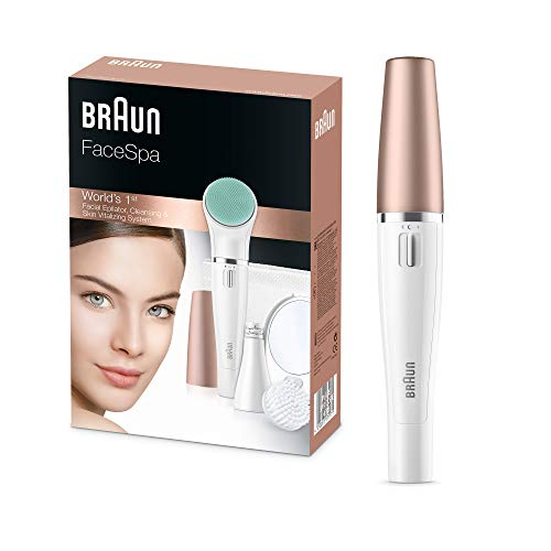 Braun FaceSpa 3-in-1 Gesichtsepilierer und Reinigungsbürstensystem 851v, mit zusätzlicher Batterie, Massagepad und Spiegel, weiß/rotgold