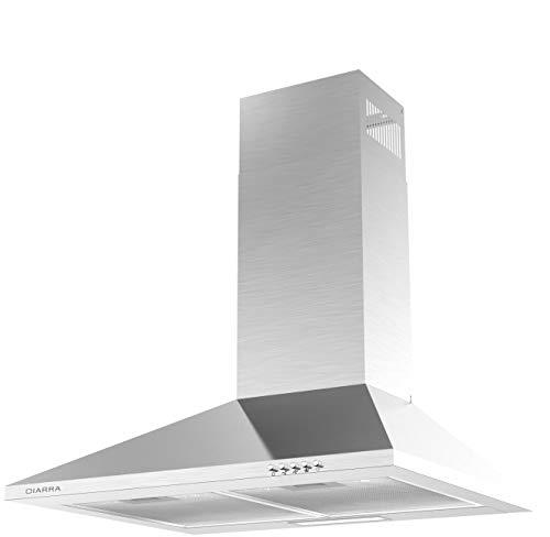 CIARRA Dunstabzugshaube 60cm Breit 380 m³ / h 3 Stufen Abluft Umluft Edelstahl Dunstabzugshaube LED Beleuchtung(Silber),Kompatibler CBCF002 Filter