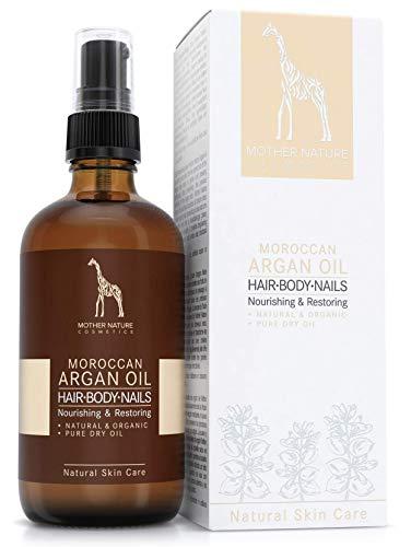 PREISGEKRÖNTES BIO-Arganöl - kaltgepresst & vegan - 100% rein - von Mother Nature Cosmetics - aus handverlesenen Argannüssen - traditionelles Naturprodukt für Haare, Haut, Nägel