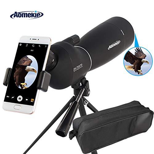 Aomekie Spektiv für Sportschützen Jagd 25-75X70 Zoom 45 Grad abgewinkelt Okular Fernglas Monokular Teleskop mit Stativ und Tasche Wasserdicht für Vogelbeobachtung Himmelsbeobachtung