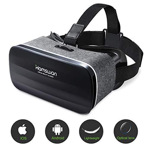 HAMSWAN 3D VR Brille für Handy, Video Movie Game Brille Virtuelle Realität Headset Kompatibel mit iOS, Android und anderen Handys innerhalb von 4.0-6.0 Zoll Ultraleichtes Gewicht MEHRWEG